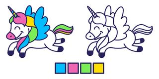 Coloritura dell'unicorno Fotografia Stock