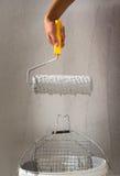 Coloritura della parete con il rullo Immagine Stock