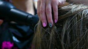 Coloritura di capelli Parrucchiere Paint per i capelli - una bionda graziosa, sedentesi in un salone di bellezza, un parrucchiere archivi video