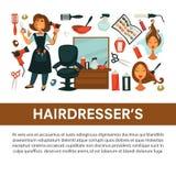 Coloritura di capelli piana della donna del manifesto di vettore del salone di bellezza del parrucchiere e disegnare le icone del illustrazione vettoriale