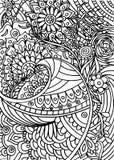 Coloritura disegnata a mano con gli elementi floreali Immagine Stock Libera da Diritti