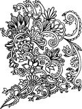 Coloritura disegnata a mano con gli elementi floreali Fotografia Stock