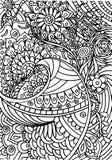 Coloritura disegnata a mano con gli elementi floreali Immagini Stock