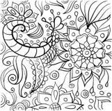 Coloritura disegnata a mano con gli elementi floreali Fotografie Stock