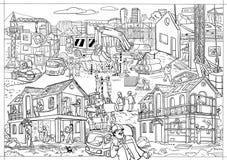 Coloritura-manifesto di un grande costruzione Immagine in bianco e nero Fotografie Stock