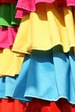 Colorized curtain. Colorized silk cloths on the temple pillars stock image