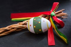Easter eggs on stone background Stock Photography