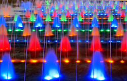 Colorized fountain. The nocturne of many fountain Stock Image