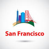 Colorized  silhouette of San Francisco, USA Royalty Free Stock Image
