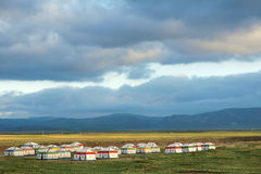 Colorized tents. The colorized tents at lakeshore of Qinghai Lake in China royalty free stock photo
