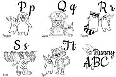 Colorless alphabet letters for kids, coloring book Royalty Free Stock Images