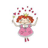 Colorless background with a happy red-haired fairy Stock Photography