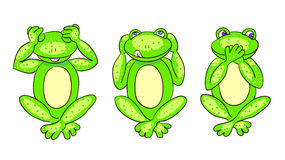 Colorless background with three green frogs Royalty Free Stock Photography