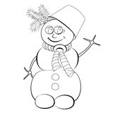 Colorless cheerful snowman with bucket on his head Stock Photos