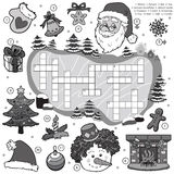 Colorless crossword, education game for children about Christmas Royalty Free Stock Photo
