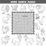 Colorless crossword about farm animals. Word search puzzle Stock Image
