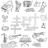 Colorless crossword about music instruments. Colorless crossword, education game for children about music instruments Stock Image
