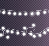 Colorless Festive Garlands Set Decorations Stars. Colorless festive garlands set decorations with white shiny lights in star shapes, glittering lightbulbs vector Royalty Free Stock Image