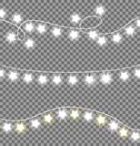 Colorless Festive Garlands Set Decorations Stars. Colorless festive garlands set decorations with white shiny lights in star shapes, glittering lightbulbs vector Stock Images