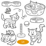 Colorless set of cute domestic animals and objects, vector cats Royalty Free Stock Images