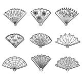 Colorless set of fans, vector cartoon collection. Black and white set of fans, vector cartoon collection Stock Image