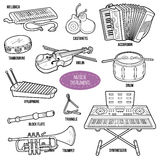 Colorless set with musical instruments Royalty Free Stock Photo