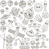 Colorless Space Kid set, the collection of coloring book template, the group of outline digital elements. Colorless Space Kid elements set, collection of Stock Images