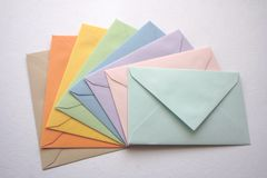 Coloroful envelopes. Brown, orange, yellow, bleu, purple and blue envelopes Stock Photos