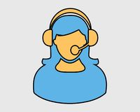 Female Customer service icon. Colorful Female Customer service icon royalty free illustration