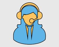 Colorful Female Customer service icon. Coloroful Female Customer service icon vector illustration