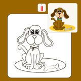 Coloroing. Coloring Book or Page Cartoon Illustration of sitting dogs and bone for Children Royalty Free Stock Image