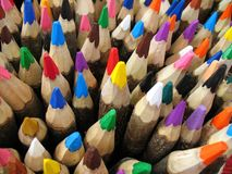 Colors. The closeup of some crayons stock photos