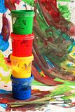 Colors. For painting on child painted background Stock Images