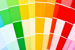 Colors. Paper palette with yellow green and red Stock Image