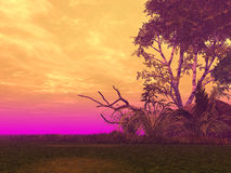 Colors. Landscape with strange light - 3d illustration vector illustration