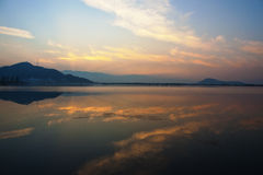 Colors. Sunset over Dal Lake, Kashmir, India stock images