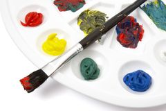 Colors. Close up of colors art supplies on white background with clipping path Royalty Free Stock Photos