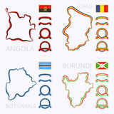 Colors of Angola, Chad, Botswana and Burundi Stock Image
