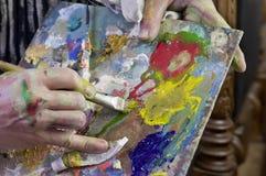 Colors On Artist Palette Stock Photos