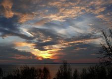 Colors of an auroral sky. Colored sky above Lake Balaton, Hungary at an autumn sunrise Stock Photography