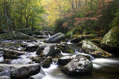 The Colors of Autumn. Beautiful flowing stream in Smoky Mountain National Park Royalty Free Stock Image