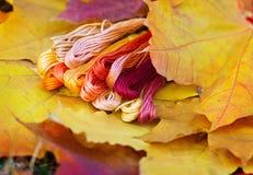 Colors of autumn, multicolor yarns looks like autumn leaves. Colors of autumn, colorful mouline threads look like autumn leaves Royalty Free Stock Photo