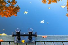 Colors of autumnal reflections in water, public park in Riga stock images
