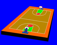 Colors background. 3d basketball field on blue background. Vector illustration design brown field Royalty Free Stock Images