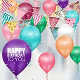 Colors balloons Happy Birthday background. Illustration of Colors balloons Happy Birthday background Royalty Free Stock Photos