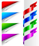 Colors bent paper corners and ribbon. Vector set of colors bent paper corners and ribbon royalty free illustration