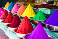 Colors. Bowls of vibrant colored dyes in India - holi colors Stock Photos