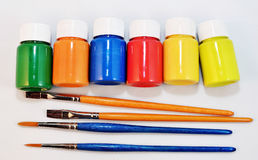 Colors. Brushes and colors for painting Royalty Free Stock Photography