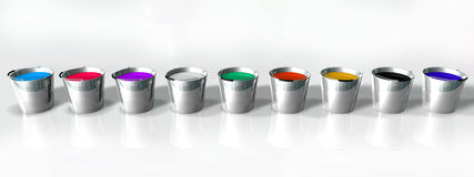 Colors Buckets Stock Photo