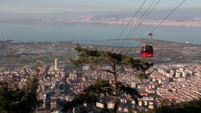 Colors cable car, people travelling,Izmir city,turkey stock video footage